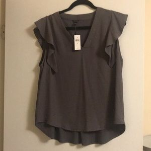 Ann Taylor Gray Flutter Sleeve Top